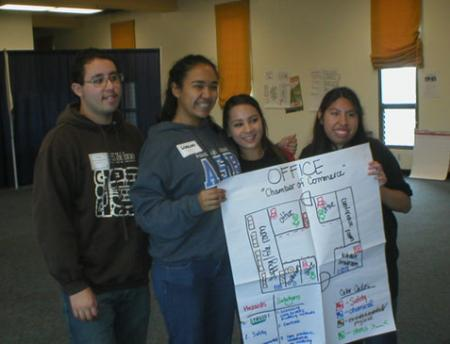 Students show their workplace hazard map