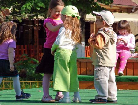 children talking on the school yard